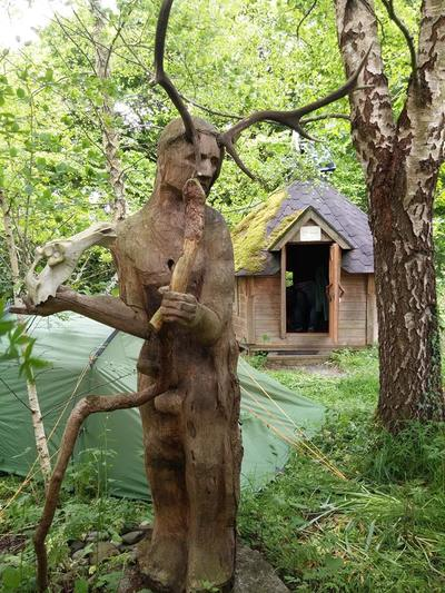 The statue of Cernunnos at 3 Castles, by sculptor Pamela Curry