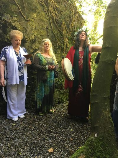 Eimear burke with  her friend Nuala and Shaman Deirdre Wadding, celebrating Bealtaine 2018.