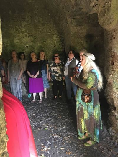 Eimear Burke in the Isean Temple at 3 Castles, celebrating Bealtaine 2018.  Photo by Liz Campbell.